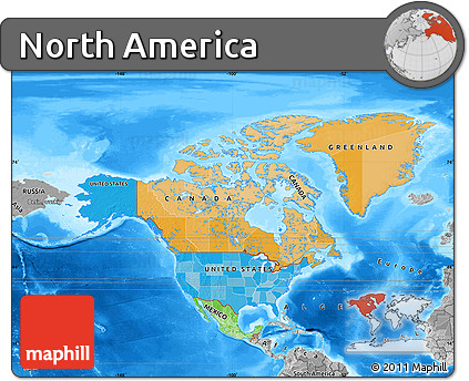 Free Political Map of North America desaturated land only