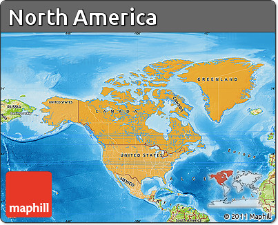 Free Political Shades Map of North America physical outside