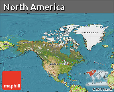 Free Satellite Map of North America physical outside satellite sea