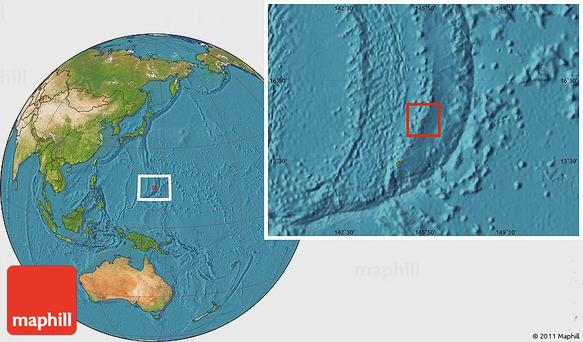 saipan on world map Satellite Location Map Of Saipan