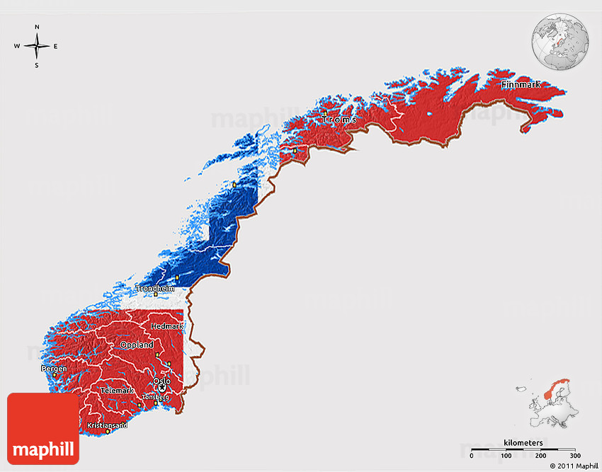Flag D Map Of Norway - Norway map and flag