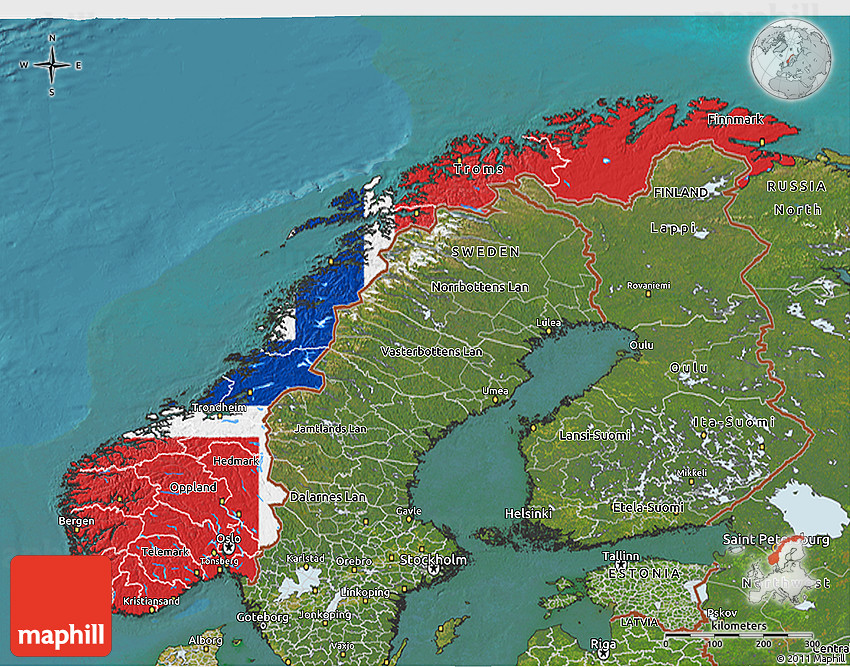 Flag 3D Map of Norway, satellite outside