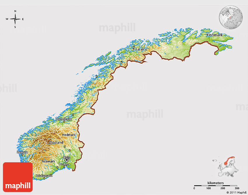 Physical D Map Of Norway Cropped Outside - Norway topographic map