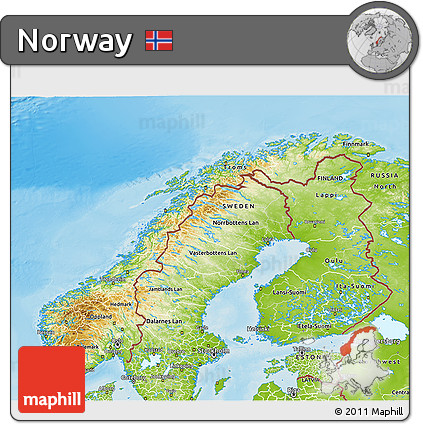Free Physical D Map Of Norway - Norway map free