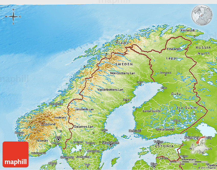 Physical D Map Of Norway - Norway topographic map