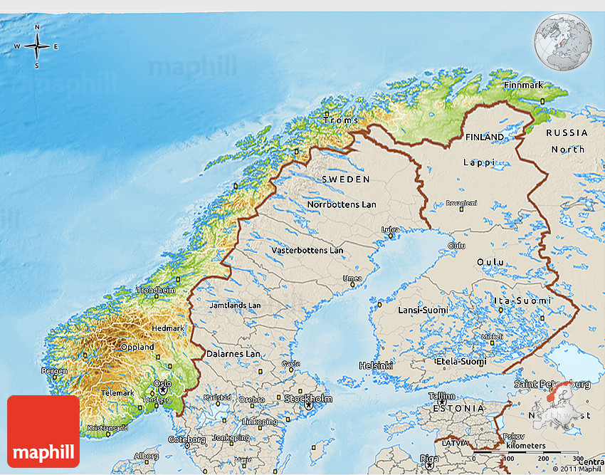 Physical D Map Of Norway Shaded Relief Outside - Norway topographic map