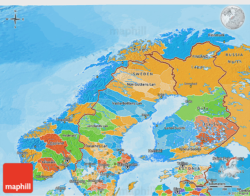 Political D Map Of Norway - Norway elevation map