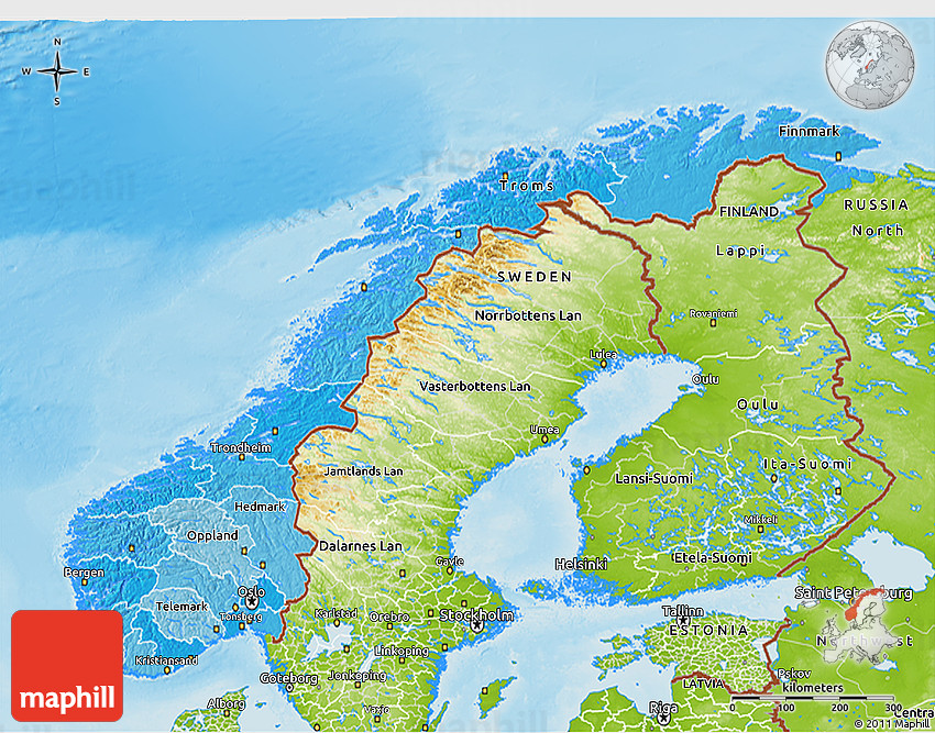 Political Shades D Map Of Norway Physical Outside - Norway topographic map