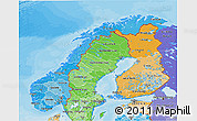 Political Shades 3D Map of Norway