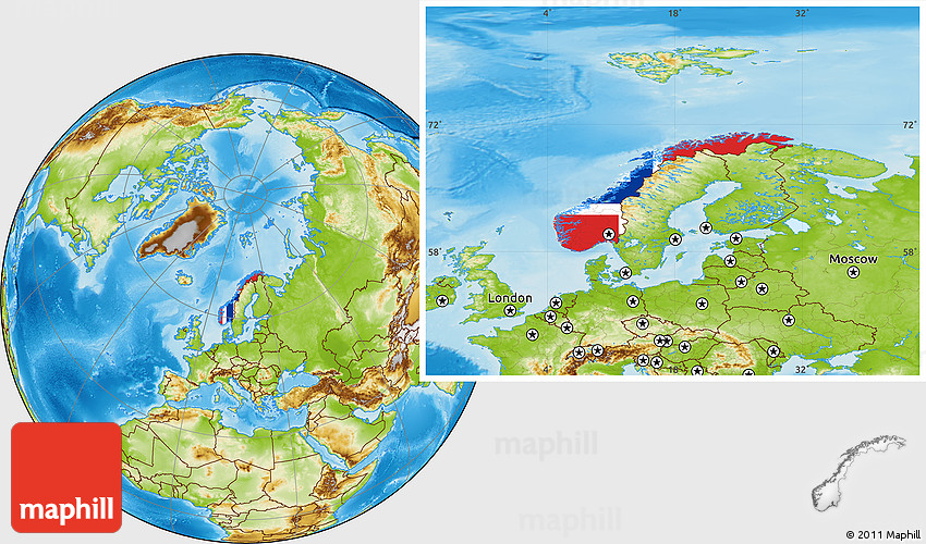 Flag Location Map Of Norway Physical Outside - Norway map clipart