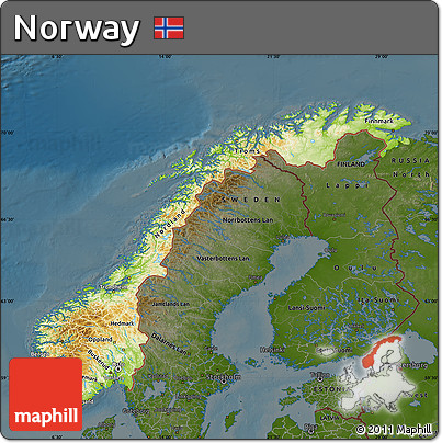 Free Physical Map Of Norway Darken - Norway map free