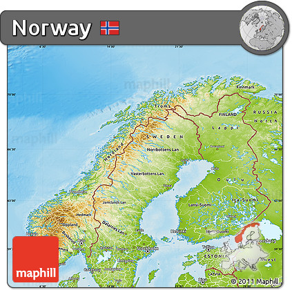 Free Physical Map Of Norway - Norway map free
