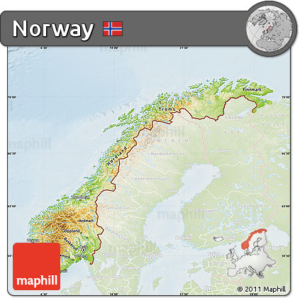 Free Physical Map Of Norway Lighten - Norway map free