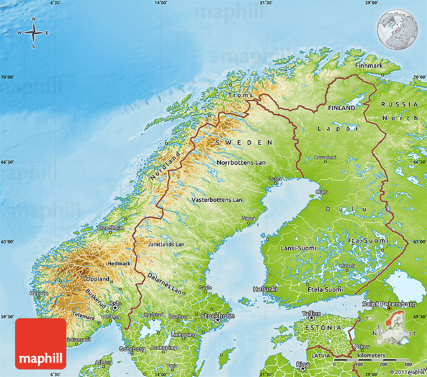 Physical Map Of Norway - Norway topographic map