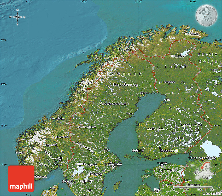 Satellite Map Of Norway - Norway topographic map