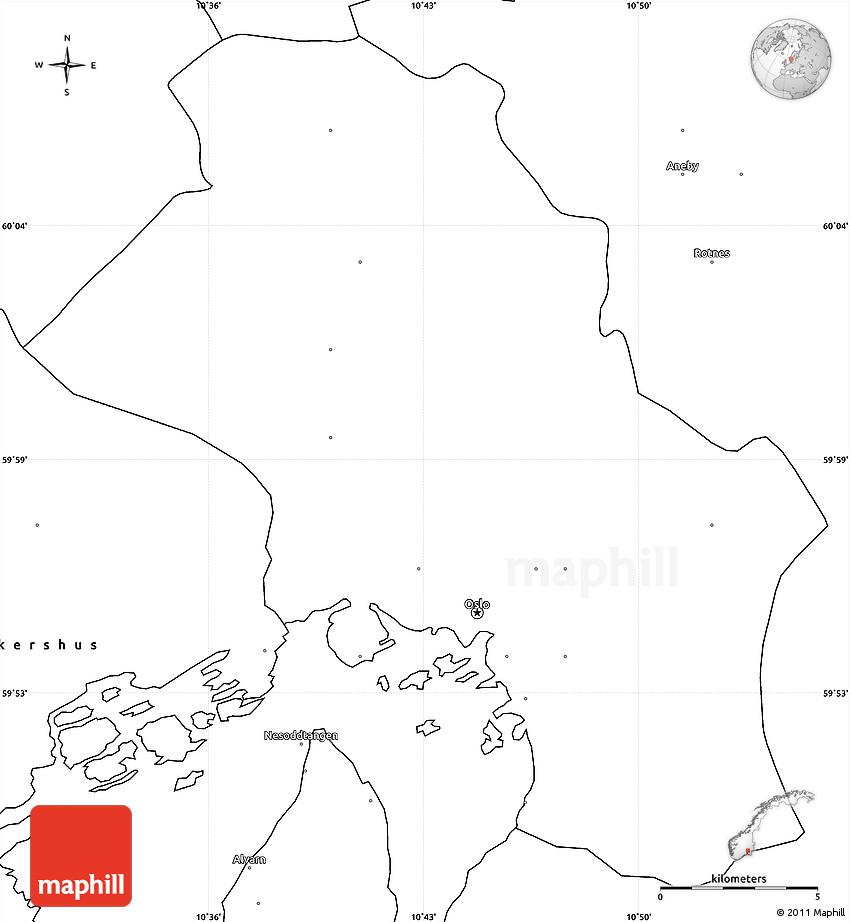 Blank Simple Map of Oslo