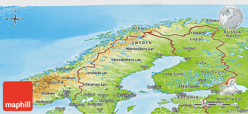 Physical Panoramic Map Of Norway - Norway topographic map