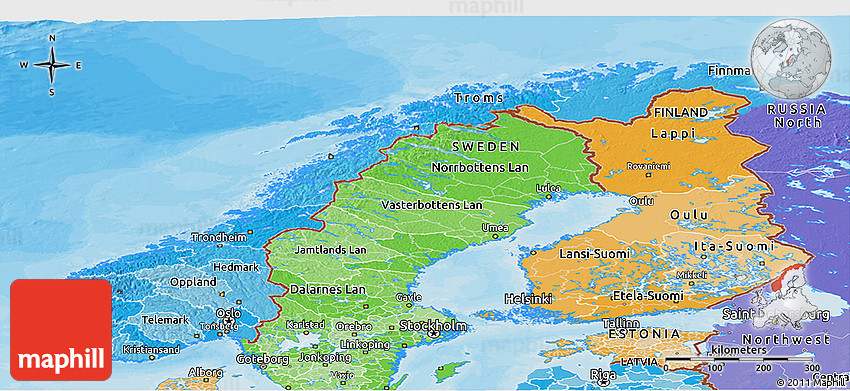 Political Shades Panoramic Map of Norway