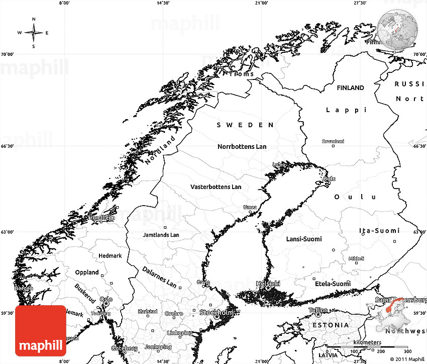 Blank Simple Map Of Norway - Norway map latitude