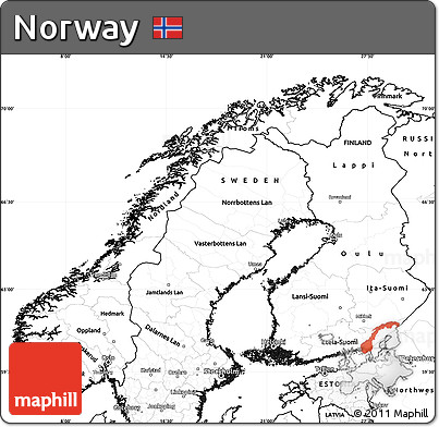 Free Blank Simple Map Of Norway - Norway map free
