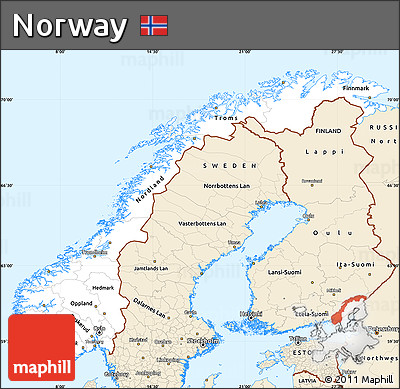 Free Classic Style Simple Map Of Norway - Norway map free