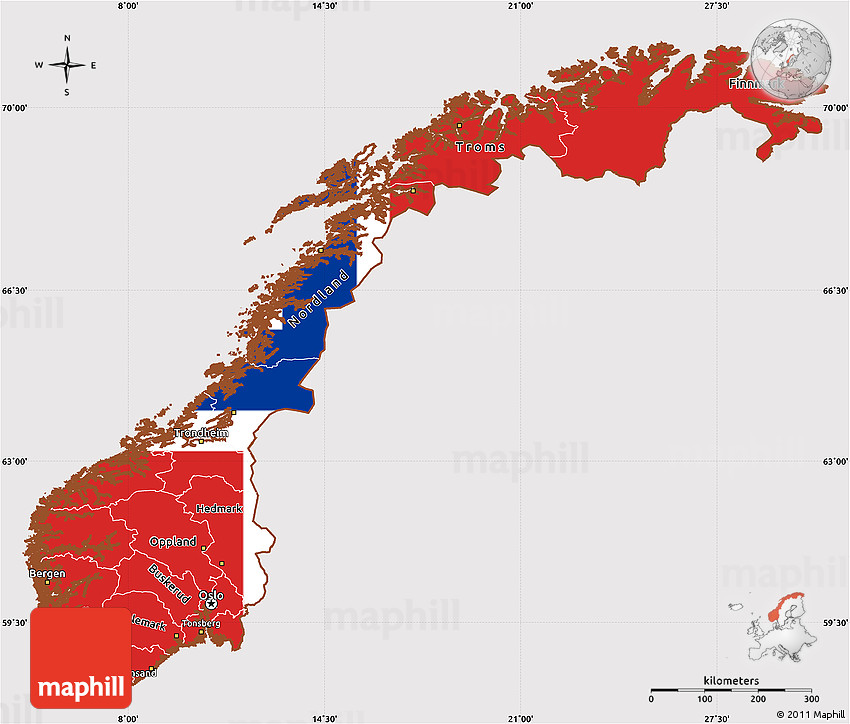 Flag Simple Map Of Norway - Norway map outline