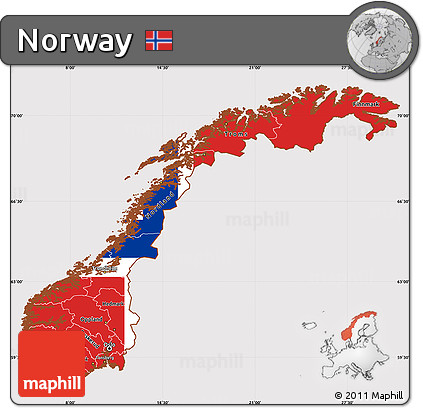 Free Flag Simple Map Of Norway - Norway map free