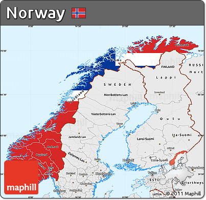 Free Flag Simple Map Of Norway Single Color Outside Borders And - Norway map free