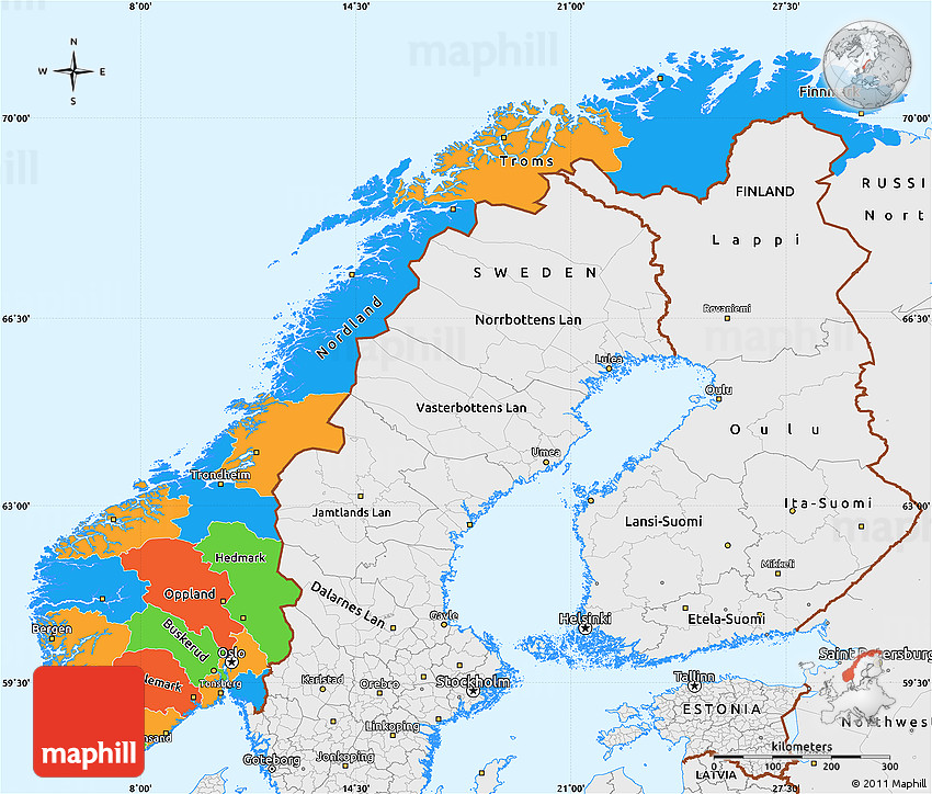 Political Simple Map Of Norway Single Color Outside Borders And - Norway map picture