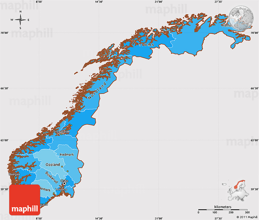 Political Shades Simple Map Of Norway Cropped Outside - Norway map free