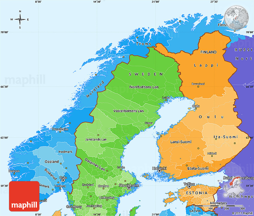 Free Political Shades Simple Map Of Norway - Norway map