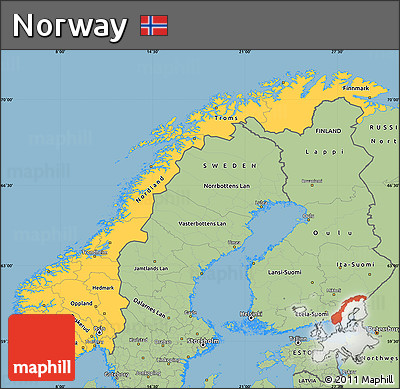 Free Savanna Style Simple Map Of Norway - Norway map free