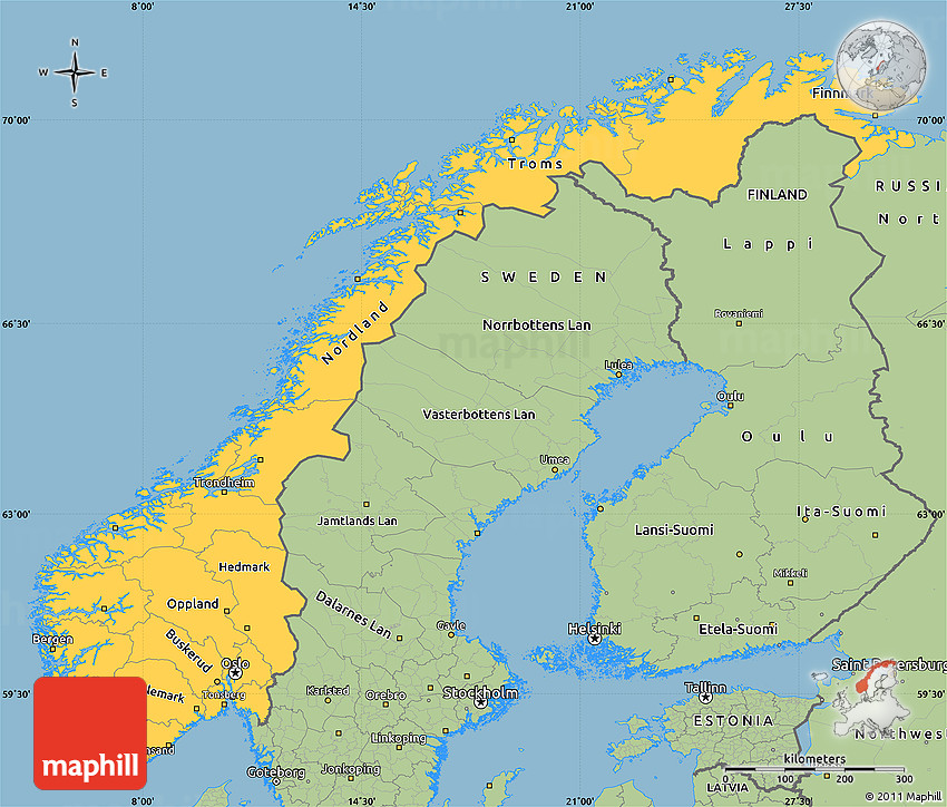 Savanna Style Simple Map Of Norway - Norway map picture