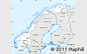 Silver Style Simple Map of Norway