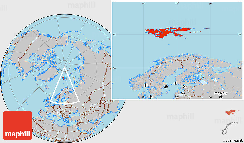 Gray Location Map of Svalbard