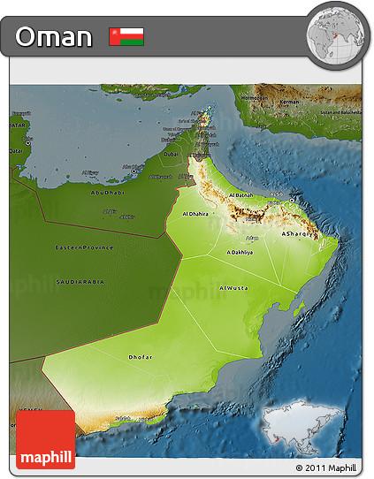 Free Physical 3D Map of Oman darken