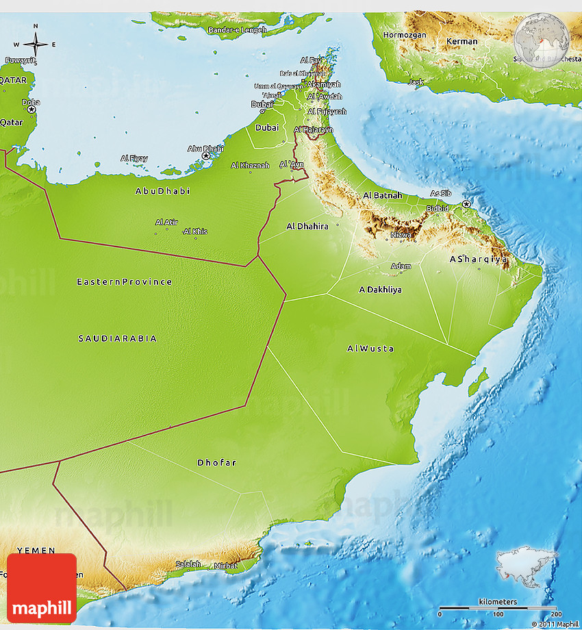Physical 3D Map of Oman