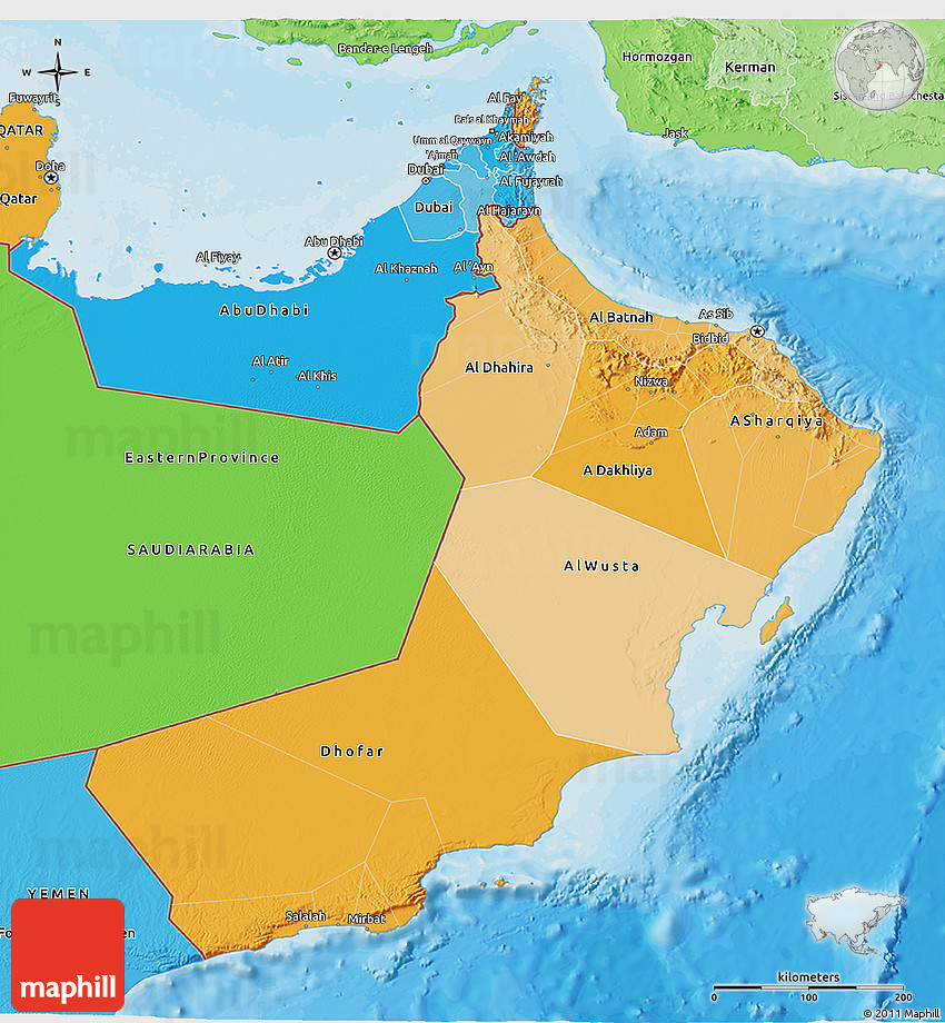 Political Shades 3D Map of Oman