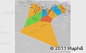 Political 3D Map of A Dakhliya, lighten, desaturated