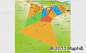 Political 3D Map of A Dakhliya, physical outside