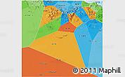 Political 3D Map of A Dakhliya, political shades outside