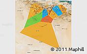 Political 3D Map of A Dakhliya, satellite outside