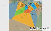 Political 3D Map of A Dakhliya, semi-desaturated
