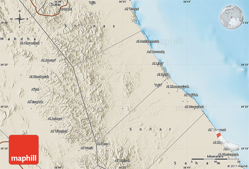 Shaded Relief Map of Liwa