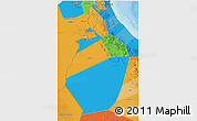 Political 3D Map of Al Dhahira, political shades outside