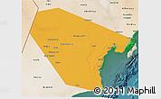 Political 3D Map of Al Wusta, satellite outside