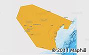 Political 3D Map of Al Wusta, single color outside