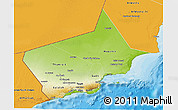 Physical 3D Map of Dhofar, political outside