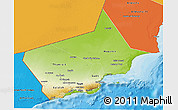 Physical 3D Map of Dhofar, political shades outside