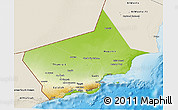 Physical 3D Map of Dhofar, shaded relief outside